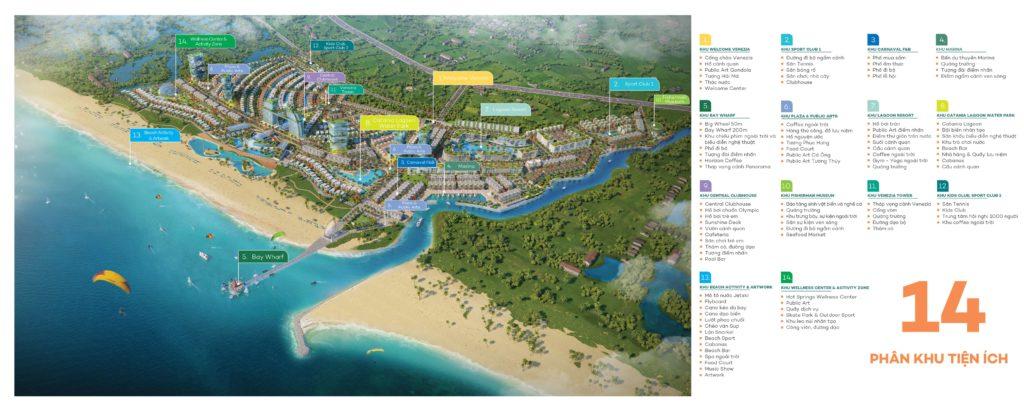 Bản đồ tiện ích 14 cụm phân khu tiện ích Venezia Beach Hồ Tràm - Bình Châu