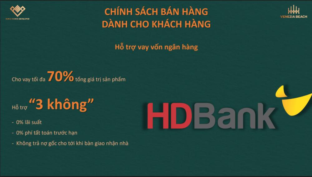 Chính sách hỗ trợ vay vốn ngân hàng của HD Bank dự án Venezia Beach