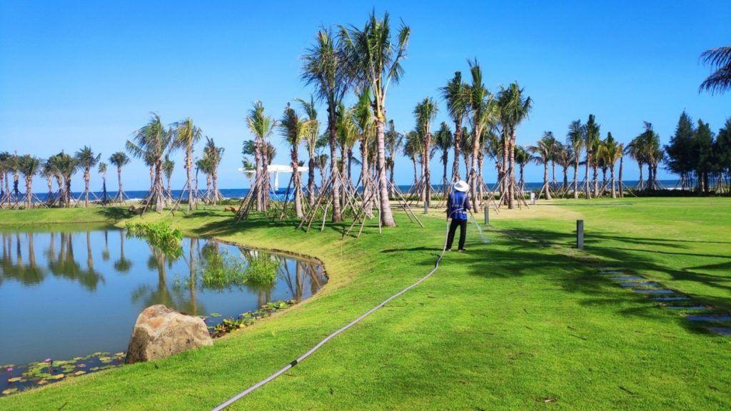 Khu vực hồ cảnh quan được phủ cỏ xanh và chăm sóc hàng ngày tại khu đô thị Venezia Beach