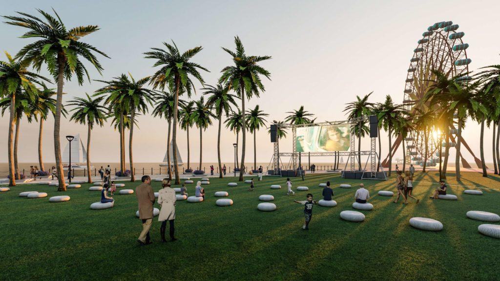 Khu xem phim ngoài trời và vòng xoay đứng thuộc khu đô thị Venezia Beach