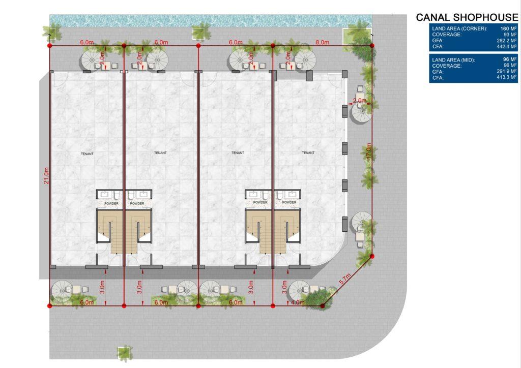 Layout chi tiết L1 Shophouse dự án Venezia Beach Hồ Tràm Bình Châu