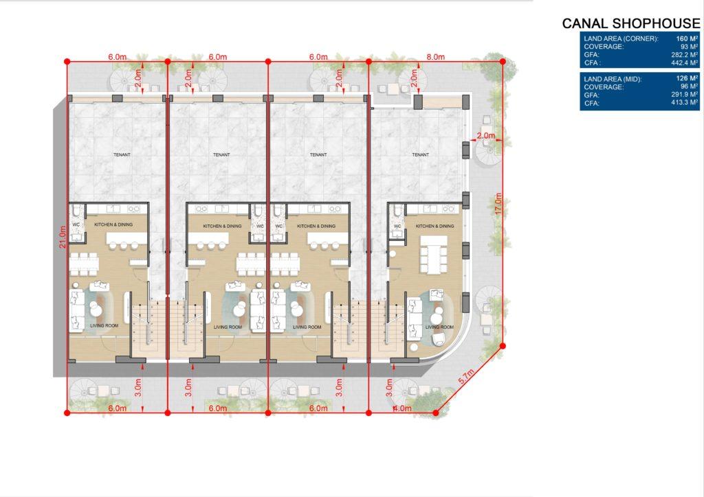 Layout chi tiết L2 Shophouse dự án Venezia Beach Hồ Tràm Bình Châu