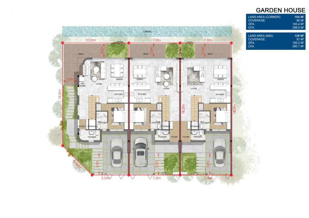 Layout chi tiết Nhà vườn Garden House thuộc dự án Venezia Beach Hồ Tràm Bình Châu