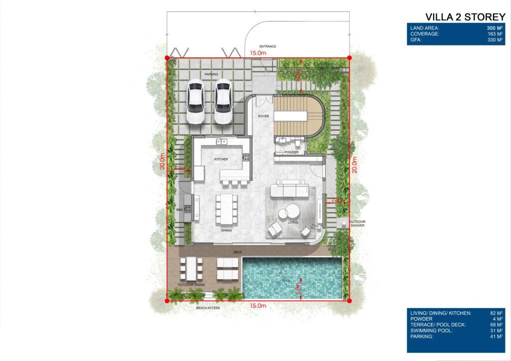 Layout chi tiết Siêu biệt thự mặt biển 2 tầng L1 dự án Venezia Beach Hồ Tràm Bình Châu