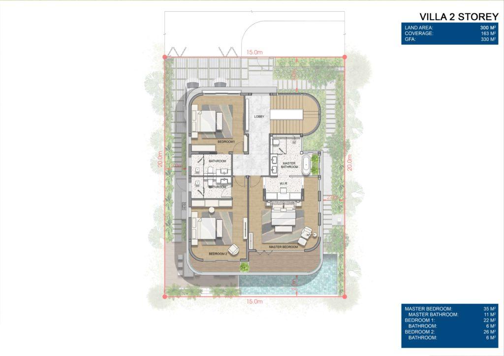 Layout chi tiết Siêu biệt thự mặt biển 2 tầng L2 dự án Venezia Beach Hồ Tràm Bình Châu