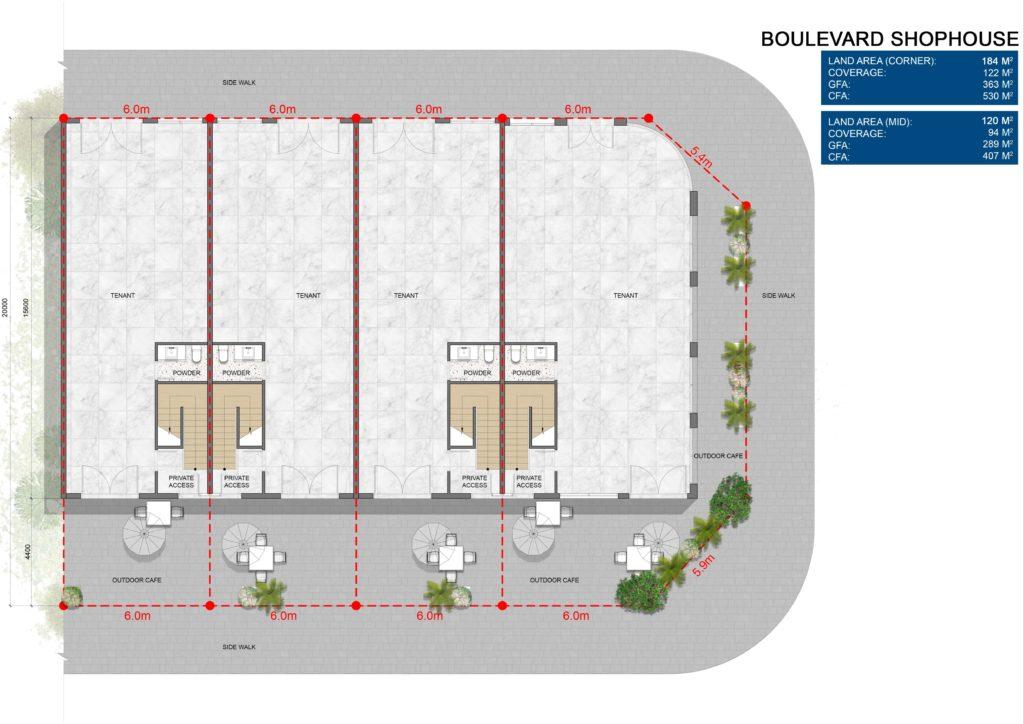 Layout chi tiết căn Boulevard Shophouse L1 dự án Venezia Beach Hồ Tràm Bình Châu
