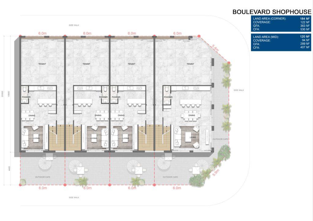 Layout chi tiết căn Boulevard Shophouse L2 dự án Venezia Beach Hồ Tràm Bình Châu