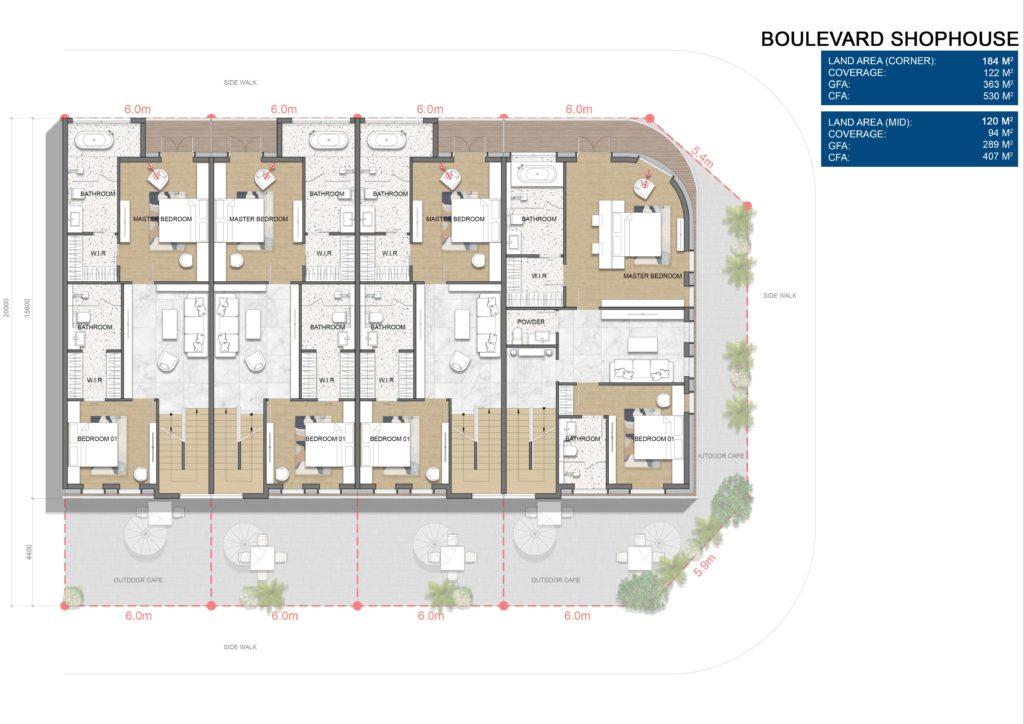 Layout chi tiết căn Boulevard Shophouse L3 dự án Venezia Beach Hồ Tràm Bình Châu