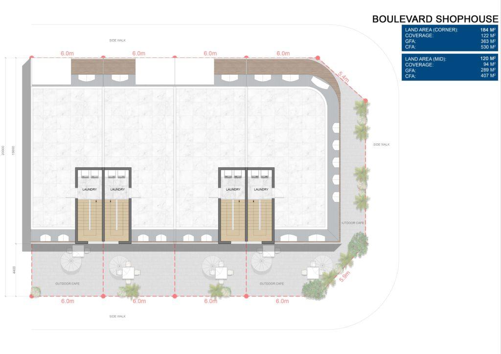 Layout chi tiết căn Boulevard Shophouse L4 dự án Venezia Beach Hồ Tràm Bình Châu