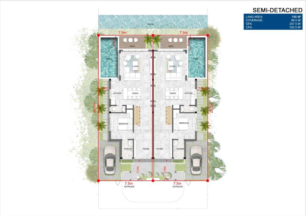 Layout mặt bằng tầng 1 biệt thự song lập Venezia Beach Hồ Tràm Bình Châu