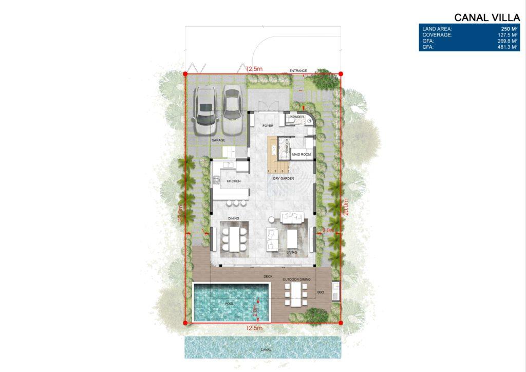Mặt bằng chi tiết tầng 1 Biệt thự đơn lập dự án Venezia Beach Hồ Tràm Bình Châu