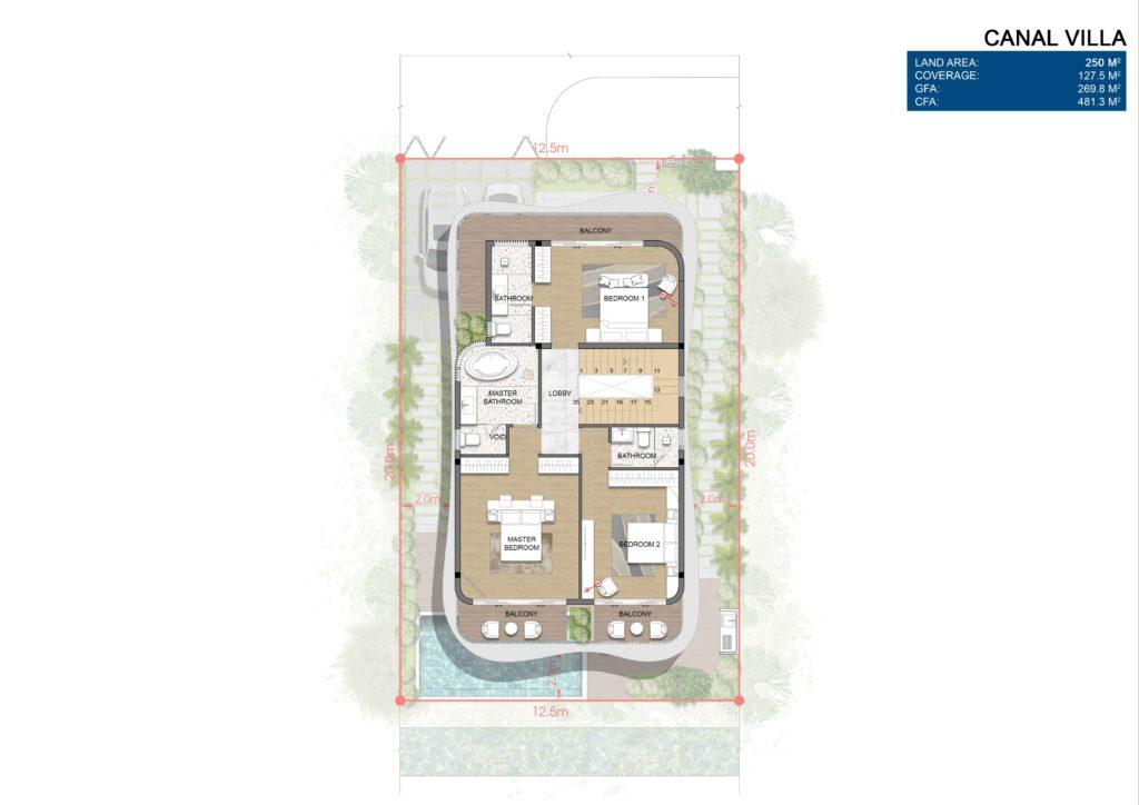 Mặt bằng chi tiết tầng 2 Biệt thự đơn lập dự án Venezia Beach Hồ Tràm Bình Châu
