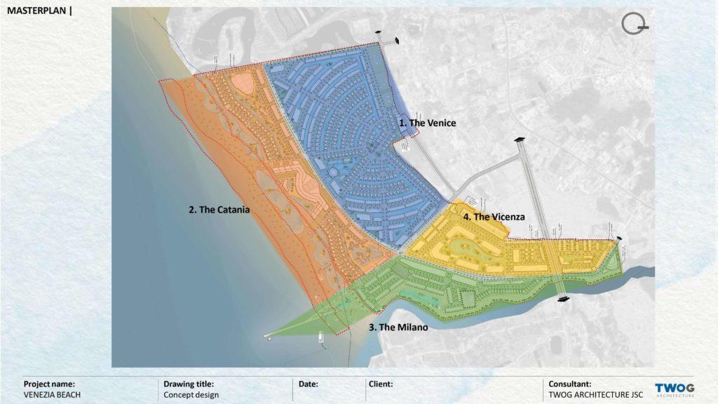 Mặt bằng phân bố 4 phân khu thuộc dự án Venezia Beach