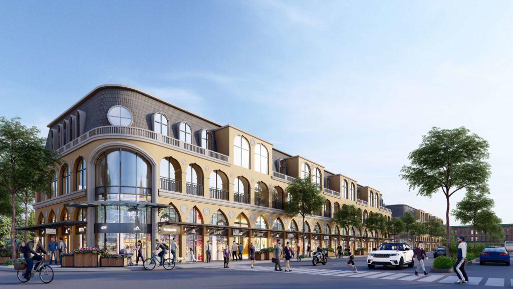Phối cảnh Boulevard Shophouse của dự án Venezia Beach Hồ Tràm Bình Châu