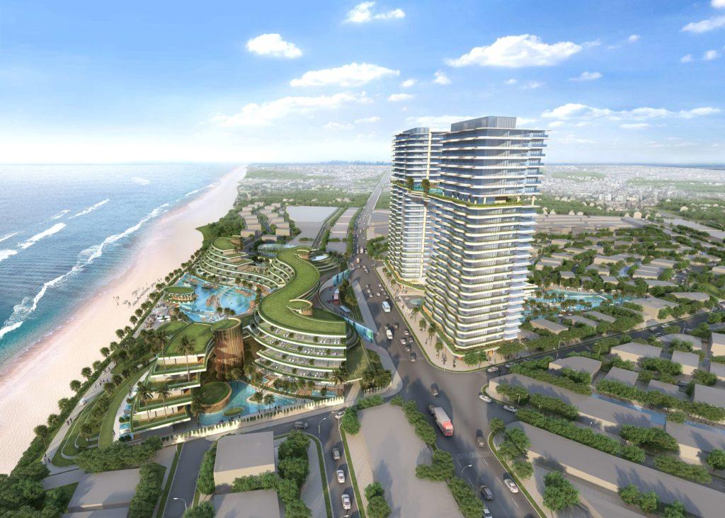 Phối cảnh khối khách sạn Sheraton 5 sao tại dự án Venezia Beach Hồ Tràm