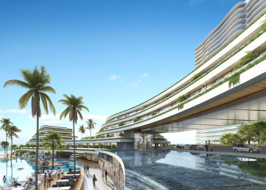 Phối cảnh khối khách sạn Sheraton 5 sao tại dự án Venezia Beach Hồ Tràm - Bình Châu