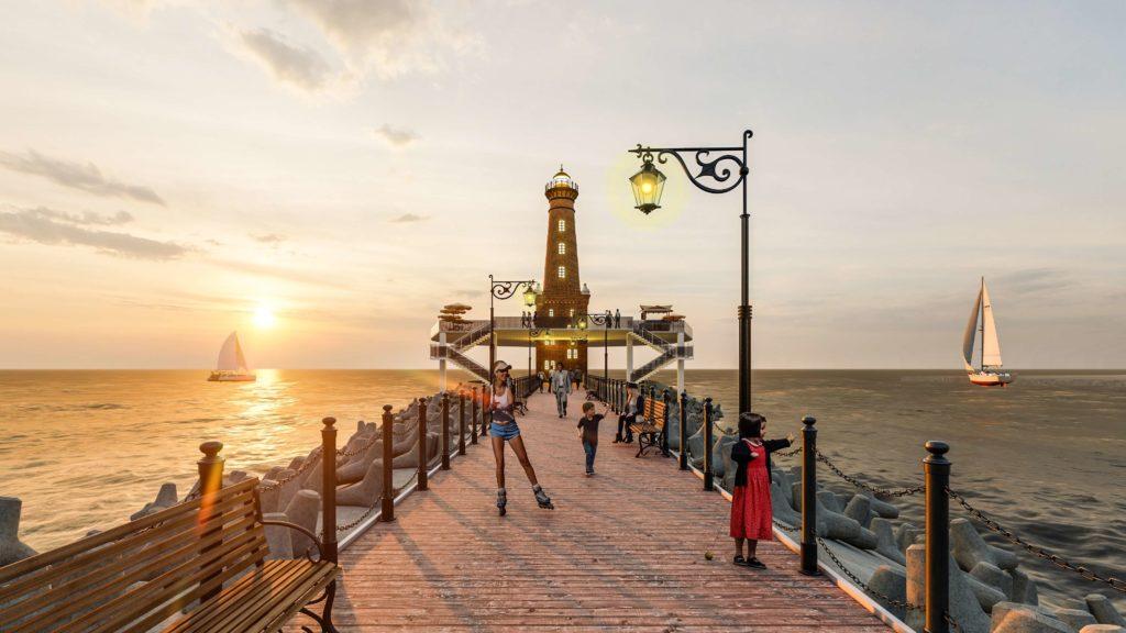 Phối cảnh khu Bay Wharf 200m ngắm cảnh biển của dự án Venezia Beach