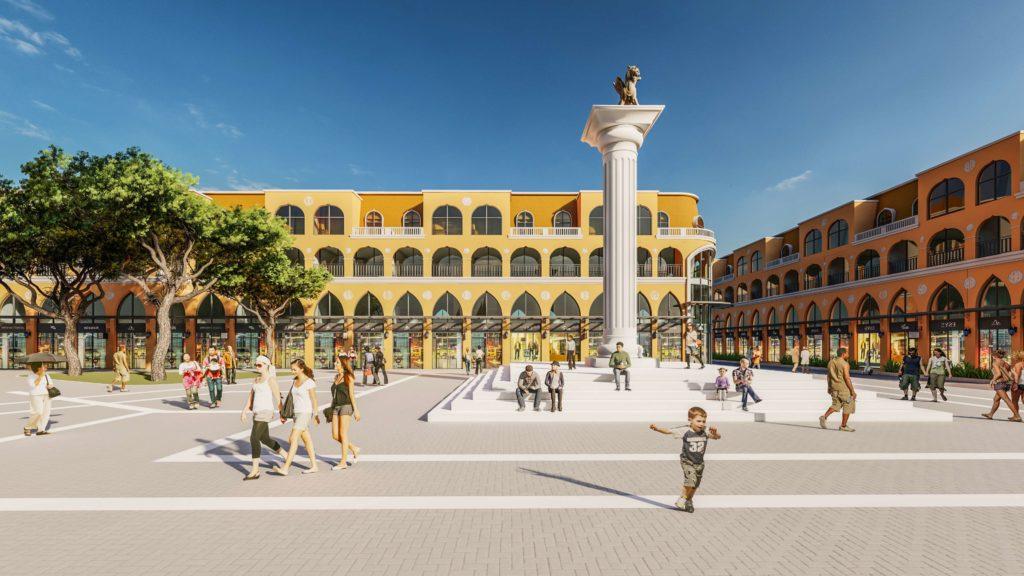 Phối cảnh quảng trường và khối shophouse của Venezia Beach Hồ Tràm