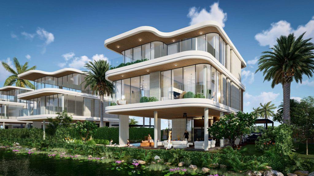 Phối cảnh tổng quan nhà mẫu Siêu biệt thự mặt biển 3 tầng dự án Venezia Beach Hồ Tràm Bình Châu
