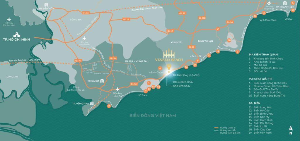Vị trí của dự án khu sinh thái biển Venezia Beach Hồ Tràm trên bản đồ
