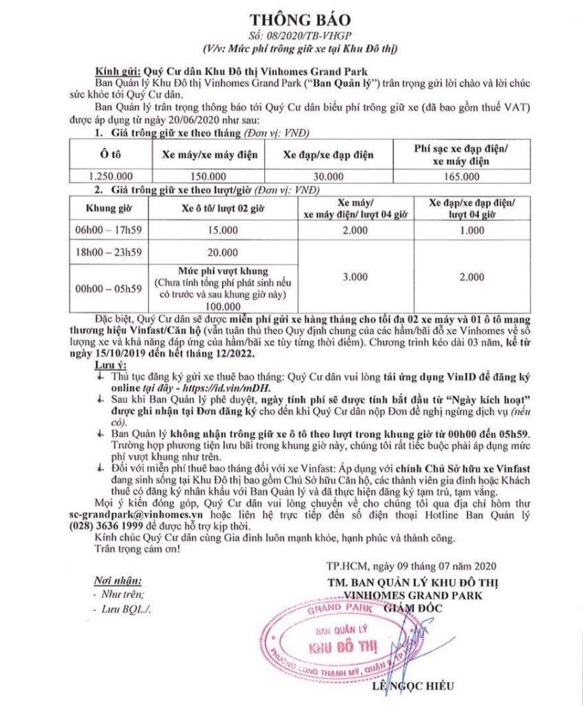 Phí dịch vụ Vinhomes Grand Park Nguyễn Xiển Quận 9