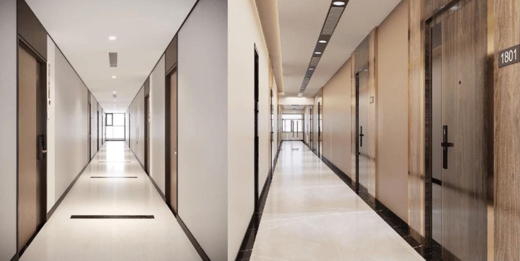 Hành lang các tòa căn hộ The Beverly sang trọng và sáng sủa với màu trắng