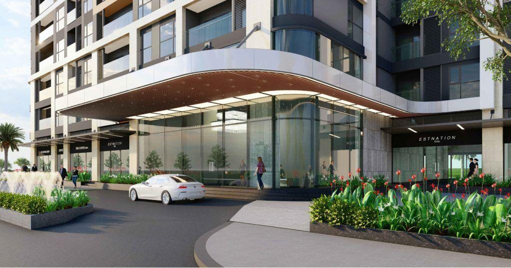 Phần mái che trước tòa nhà sản phẩm Diamond thuộc phân khu The Beverly