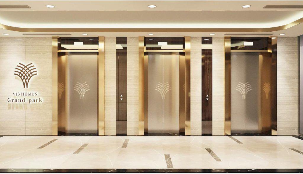 Sảnh thang máy sang trọng của phân khu The Beverly Vinhomes Grand Park