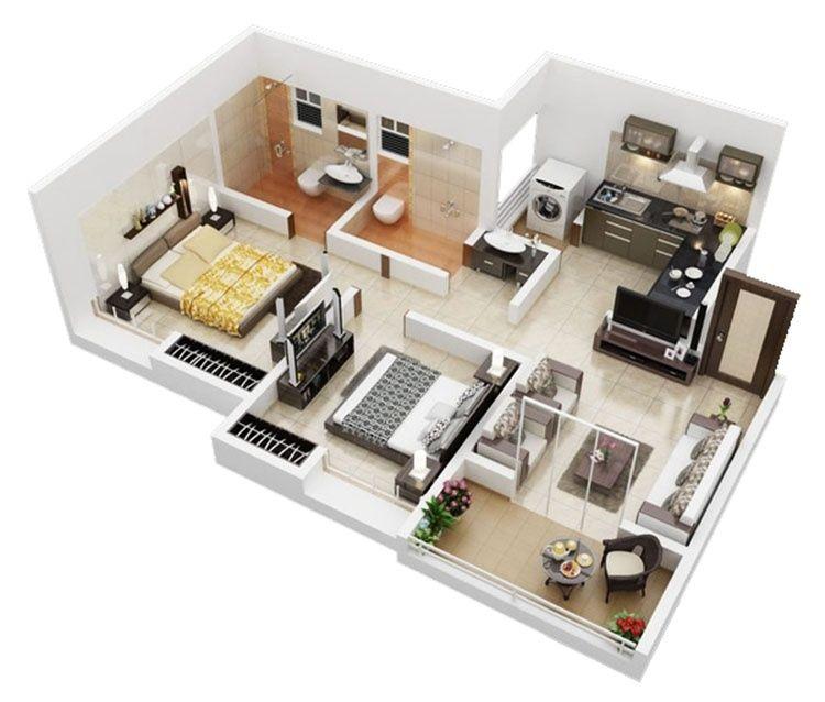 Layout căn hộ 2PN Vinhomes Grand Park 3D
