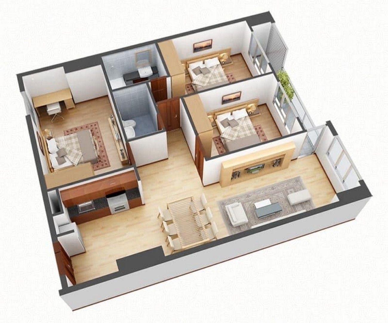 Layout căn hộ 3PN Vinhomes Grand Park 3D