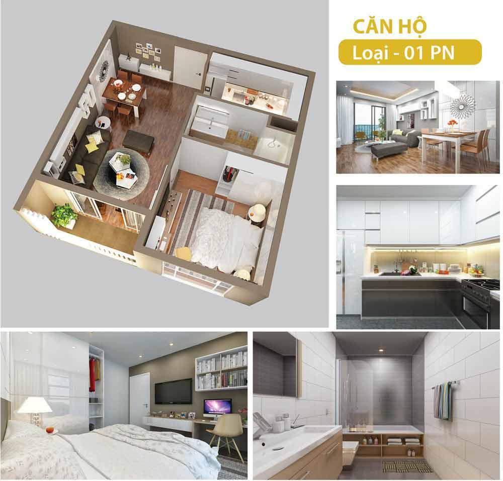 Layout thiết kế 1 phòng ngủ Vinhomes Grand Park 3D
