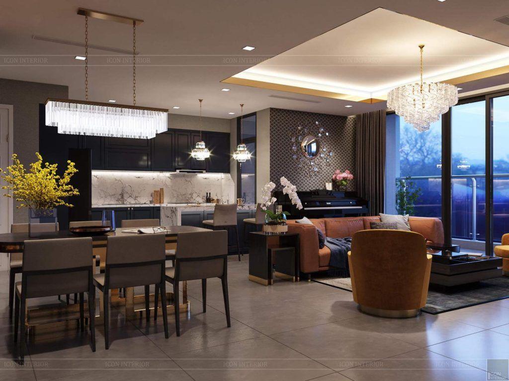 Bàn ăn và phòng khách căn hộ 3PN Vinhomes Golden River