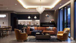 Phòng khách căn hộ 3PN Vinhomes Golden River