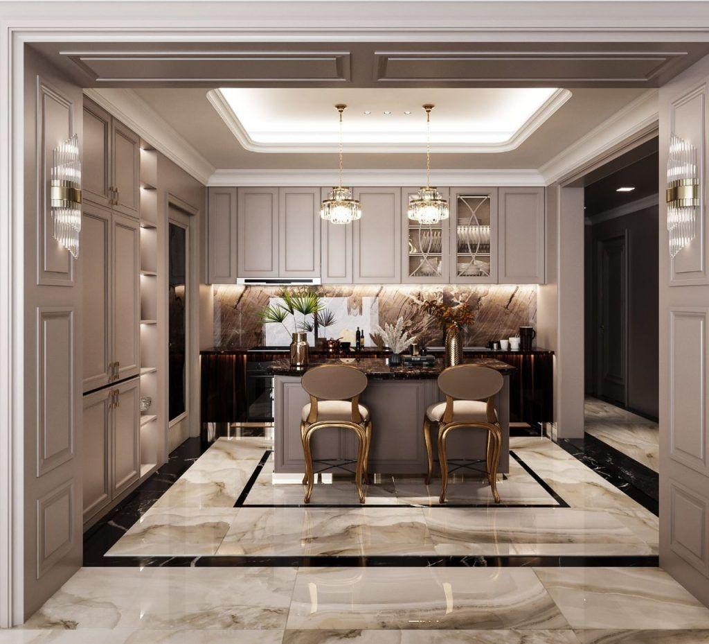 Thiết kế khu vực bếp căn hộ 4PN Vinhomes Golden River